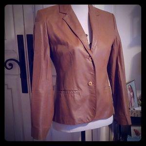 Saddle Brown Leather Blazer